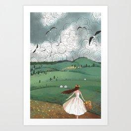 Girl And Fly Birds Art Print