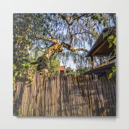 View to a fragile brown reed fence Metal Print