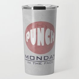 Punch Monday in the face - Red, Blue & Gray Travel Mug