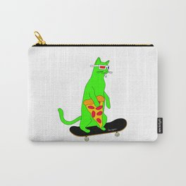 """Psychedelic Skateboarding Pizza Cat"", by Brock Springstead Carry-All Pouch"