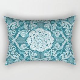 Centered Lace - Teal  Rectangular Pillow
