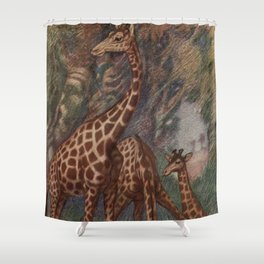 Vintage Giraffe Painting (1909) Shower Curtain