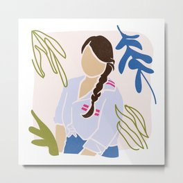Paris Plant Girl Metal Print
