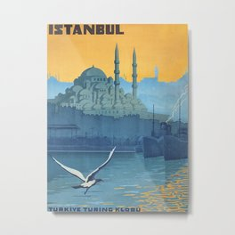 Mid Century Modern Travel Vintage Poster Istanbul Turkey Grand Mosque Metal Print