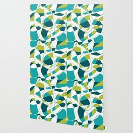 Modern Abstract Retro Green and Teal Art Wallpaper
