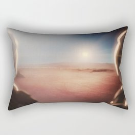 SpaceX Mission to Mars Martian Astronaut on Martian Landscape Rectangular Pillow