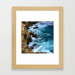 Pounding Ocean Surf on Jagged, Rocky Coastline Framed Art Print