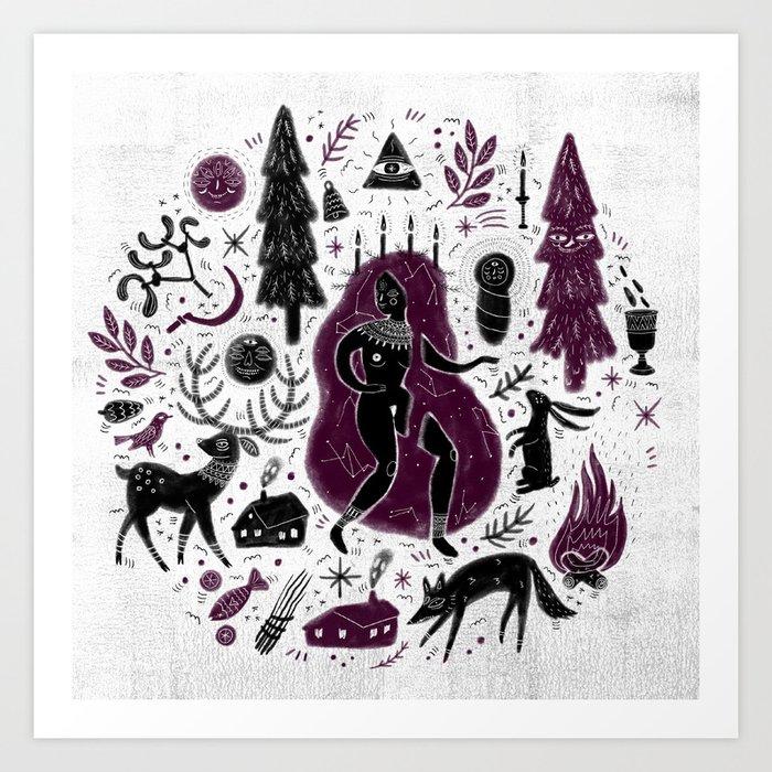 Yule, Birth of the Sun - Black&Wine Art Print