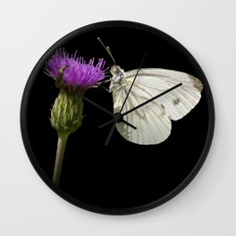 "White butterfly ""Pieris napi"" Wall Clock"