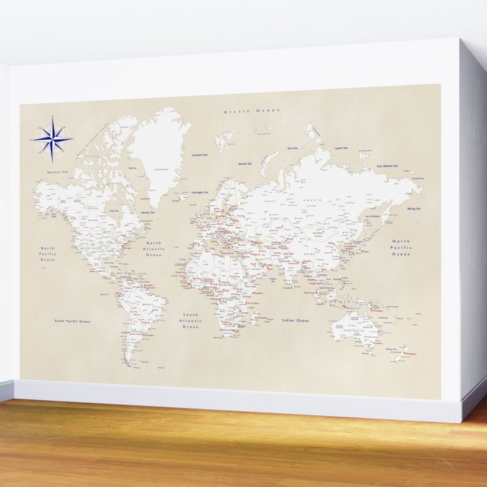 """Cream, white, red and navy blue world map, """"Deuce"""" Wall Mural"""