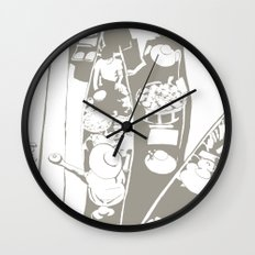 Market in Grey Wall Clock