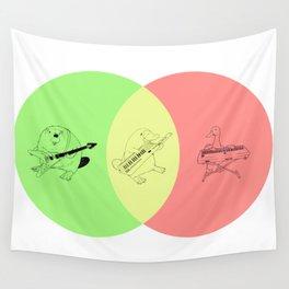 Keytar Platypus Venn Diagram - GYR Wall Tapestry