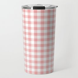 Lush Blush Pink and White Gingham Check Travel Mug