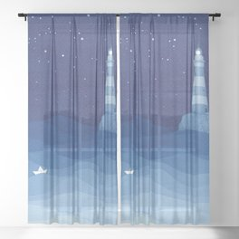 Lighthouse & the paper boat, blue ocean Sheer Curtain