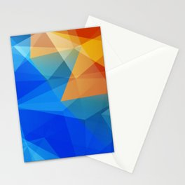 Blue Orange Polygon Abstract Stationery Cards