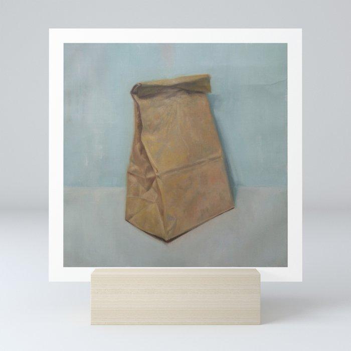 Schrödinger S Bubble Gum Brown Paper Bag Mini Art Print By Alexandergrahovsky