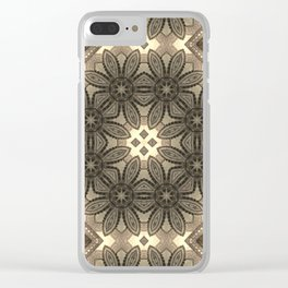 Victorian Art Deco Medieval Pattern light brown SB23 Clear iPhone Case