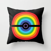 pokeball Throw Pillows featuring Rainbow Pokeball by Hi 5 Graphics