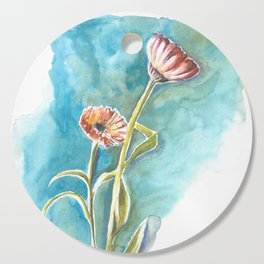Blooms on Turquoise Cutting Board
