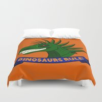 dinosaurs Duvet Covers featuring Dinosaurs Rule! by DemisaurusArt