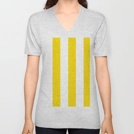 Classic Cabana Stripe in Lemon Yellow + White Unisex V-Neck