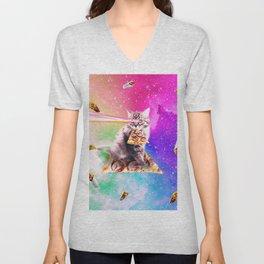 Outer Space Pizza Cat - Rainbow Laser, Taco, Burrito Unisex V-Neck