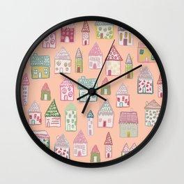 tiny village print - watercolor Wall Clock