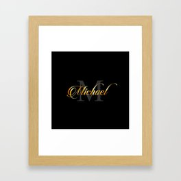 Name and initial of a boy Michael in golden letters Framed Art Print