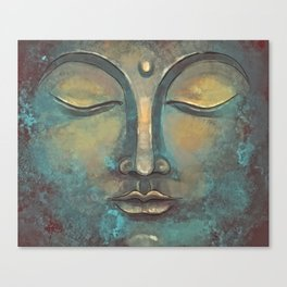 Rusty Golden Copper Buddha Face Watercolor Painting Canvas Print