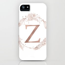 Letter Z Rose Gold Pink Initial Monogram iPhone Case