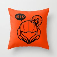 samus Throw Pillows featuring Samus by La Manette