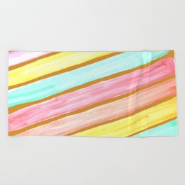 Retro Watercolor Stripes  Beach Towel