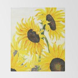 sunflower watercolor 2017 Throw Blanket