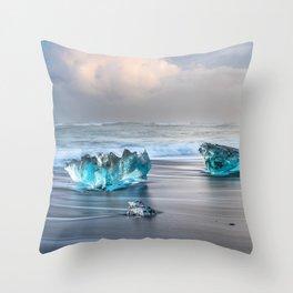 """Diamonds Are Forever"" - Diamond Beach, Iceland Throw Pillow"