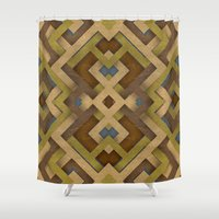 labyrinth Shower Curtains featuring Layered Labyrinth by Robin Curtiss
