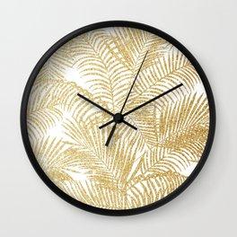 Elegant faux gold glitter tropical plants pattern  Wall Clock