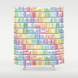 Rainbow Shelf Book Pattern - White Background Shower Curtain