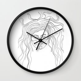 Crazy Girl, Crazy Hair Wall Clock