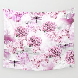 ORCHIDS ROSES MAGNOLIAS and Dragonflies Wall Tapestry
