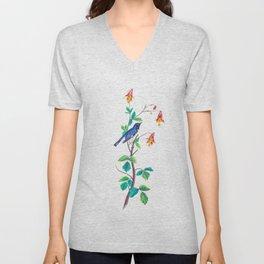 Blue Birds & Pastel Turquoise Leaves Unisex V-Neck