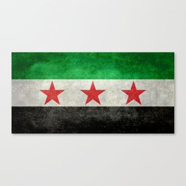 Independence flag of Syria, vintage retro style Canvas Print