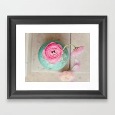 Pink ranunculus bouquet mint green vase Framed Art Print