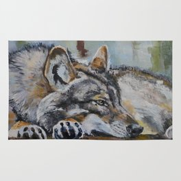 White wolf, oilpainting Rug