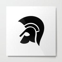 Ancient Spartan Soldier Helmet Black Metal Print