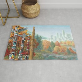 Vancouver Two Worlds Collide Landscape Painting Rug