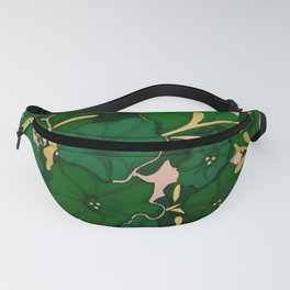 Green, Gold, and Pink, Floral Pattern Fanny Pack