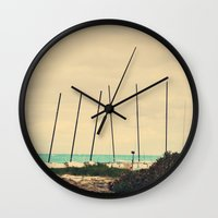 boats Wall Clocks featuring Boats by Kiera Wilson