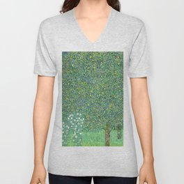 Rosebushes under the Trees by Gustav Klimt Unisex V-Neck