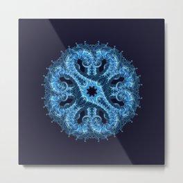 Blue Fractal Mandala Metal Print