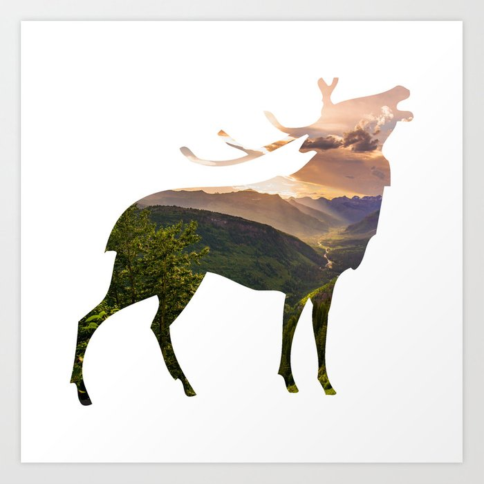 Elk Silhouette with Wilderness Inlay Art Print